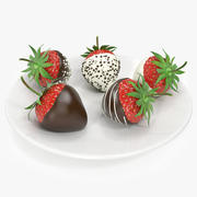 Realistic strawberry chocolate covered 3d model