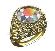 Duży pierścionek z brylantem 3d model