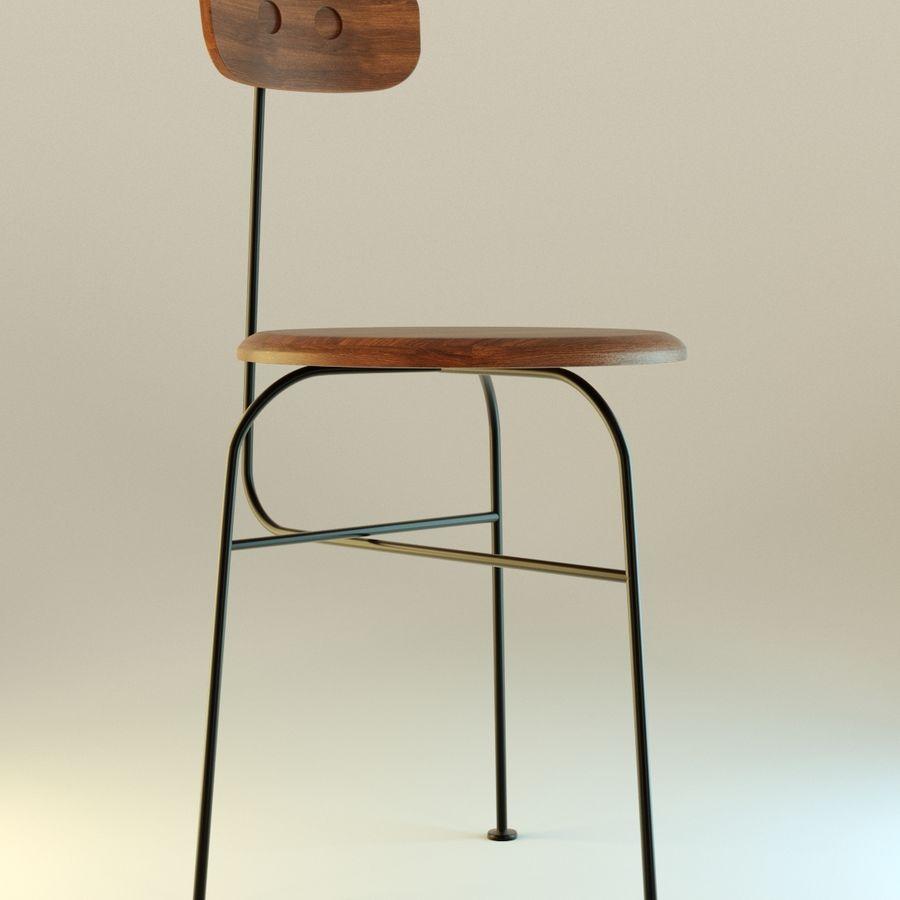 Krzesło proste drewniane royalty-free 3d model - Preview no. 2