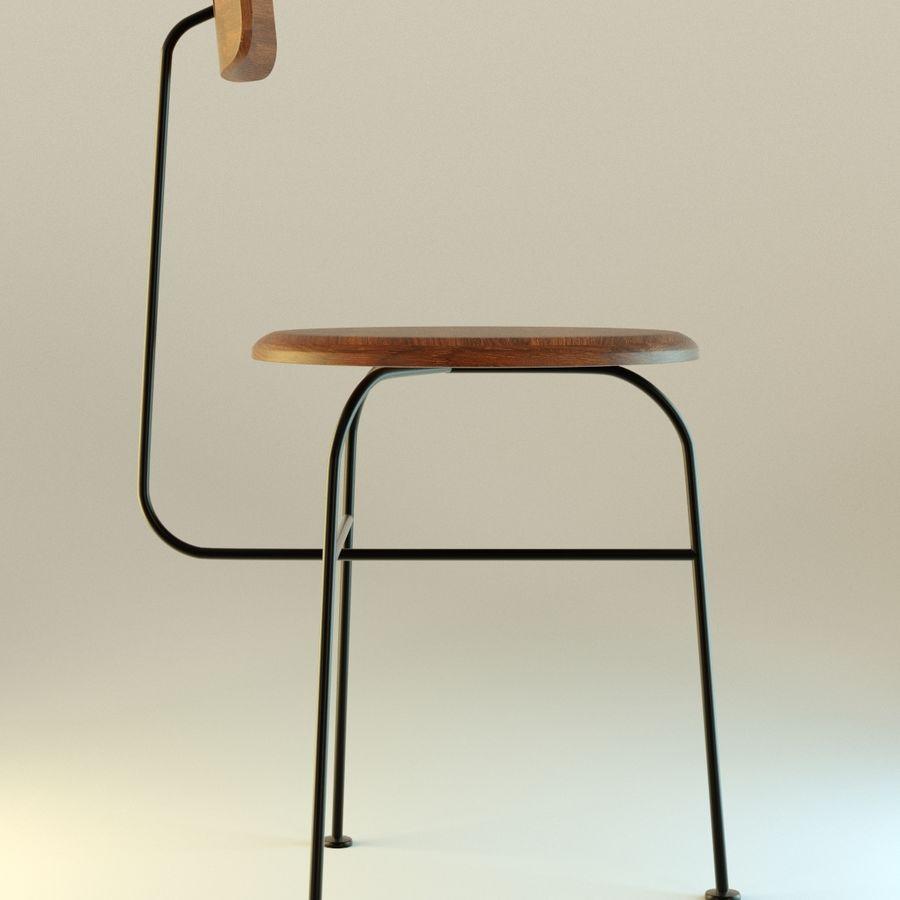 Krzesło proste drewniane royalty-free 3d model - Preview no. 3