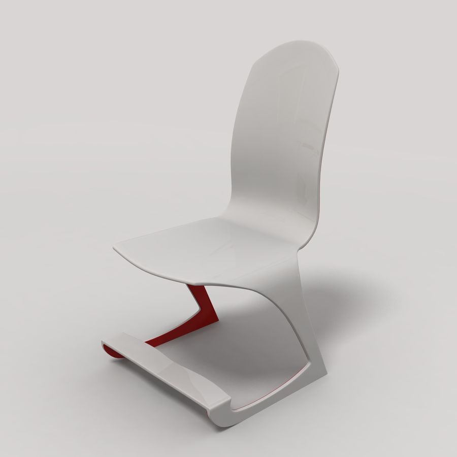 Mesa y silla futurista royalty-free modelo 3d - Preview no. 5