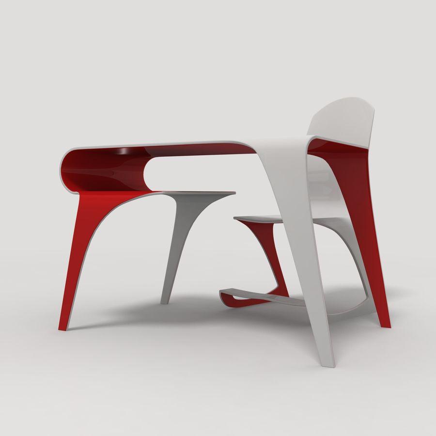 Mesa y silla futurista royalty-free modelo 3d - Preview no. 2