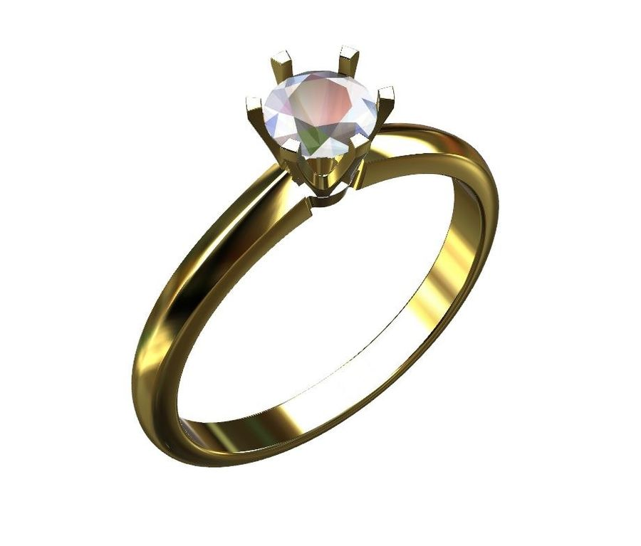 Solitaire 0.5ct nişan yüzüğü royalty-free 3d model - Preview no. 1