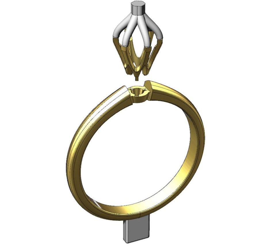 Solitaire 0.5ct nişan yüzüğü royalty-free 3d model - Preview no. 6