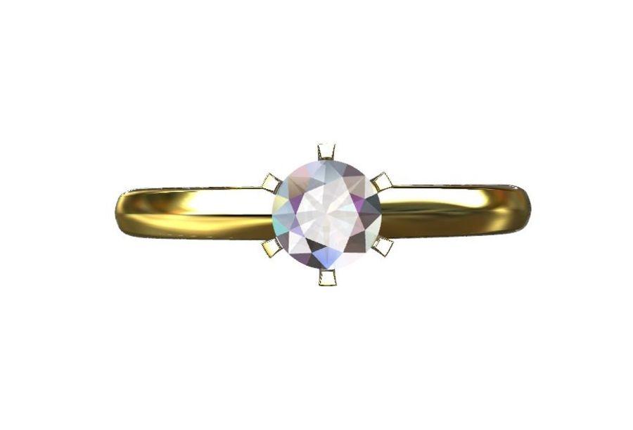 Solitaire 0.5ct nişan yüzüğü royalty-free 3d model - Preview no. 4