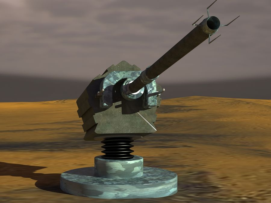 artillery sci-fi cannon royalty-free 3d model - Preview no. 3