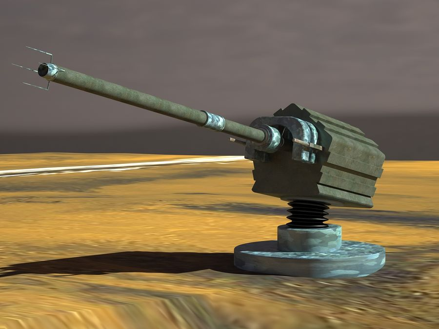 artillery sci-fi cannon royalty-free 3d model - Preview no. 1