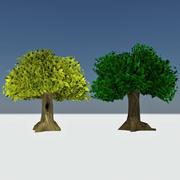 Giant Cartoon Trees - Złote i jesienne drzewa leśne x2 3d model