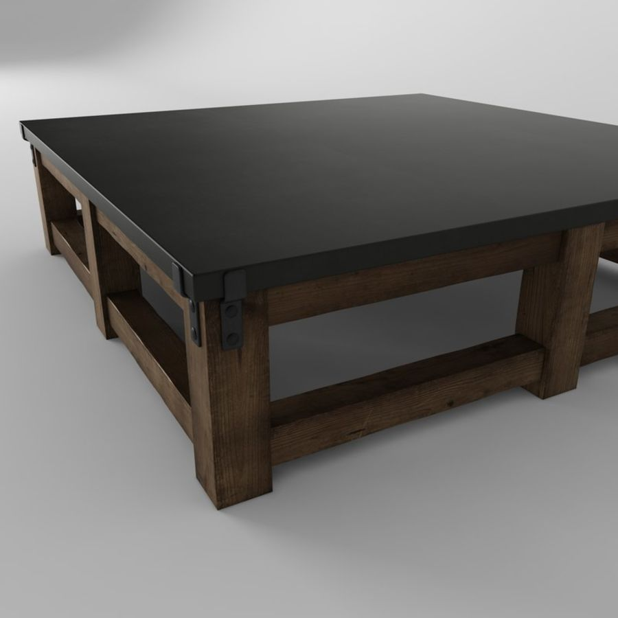 - RECLAIMED WOOD & ZINC STRAP SQUARE COFFEE TABLE 3D Model $9 - .max