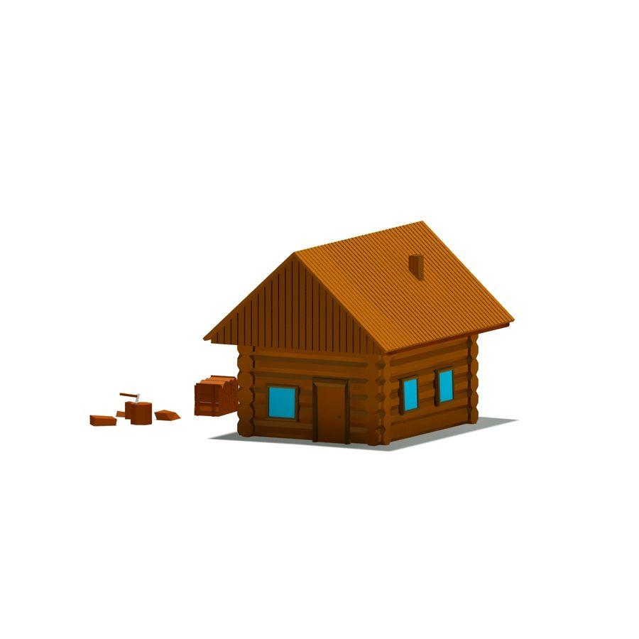 Chalet en bois poly faible dessin animé royalty-free 3d model - Preview no. 5