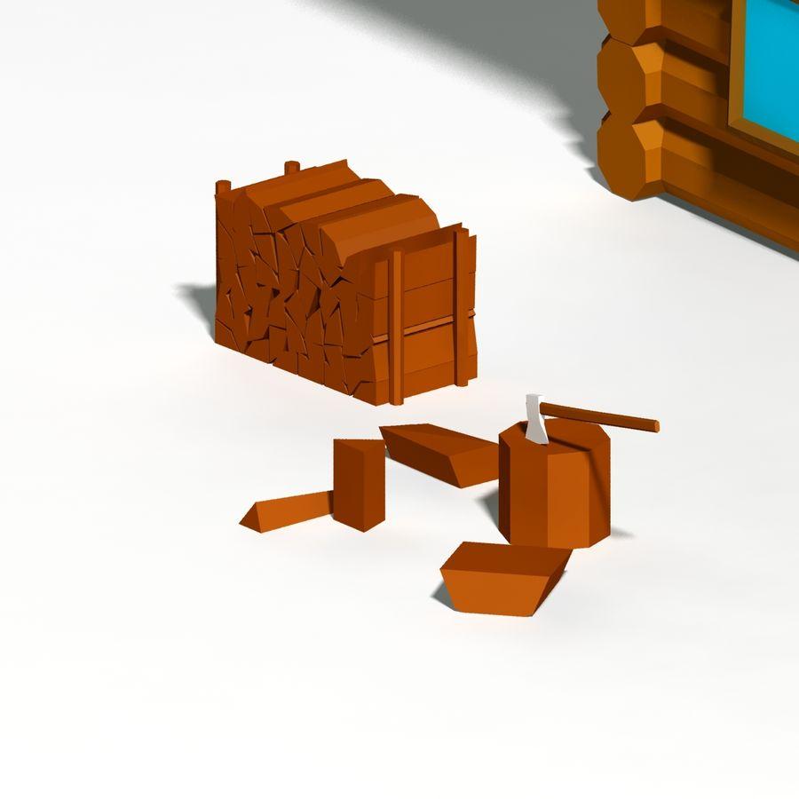 Chalet en bois poly faible dessin animé royalty-free 3d model - Preview no. 7