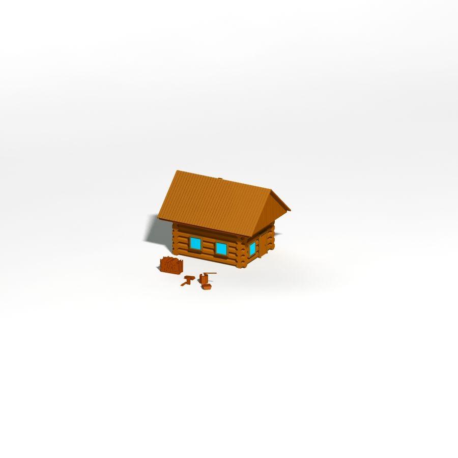 Chalet en bois poly faible dessin animé royalty-free 3d model - Preview no. 8