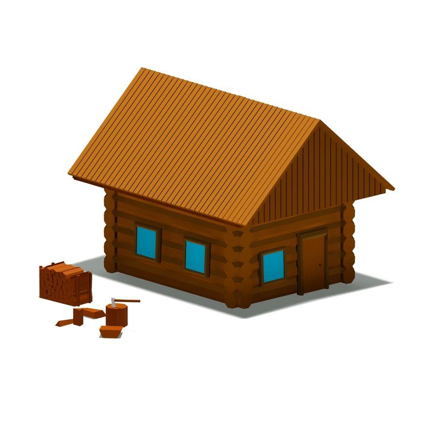 Chalet en bois poly faible dessin animé royalty-free 3d model - Preview no. 4