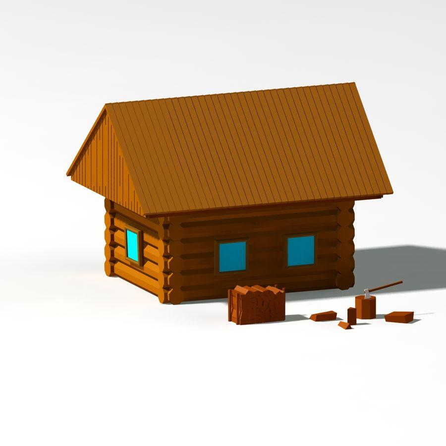 Chalet en bois poly faible dessin animé royalty-free 3d model - Preview no. 3