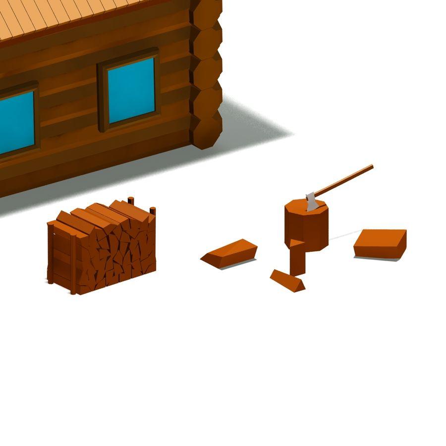 Chalet en bois poly faible dessin animé royalty-free 3d model - Preview no. 6