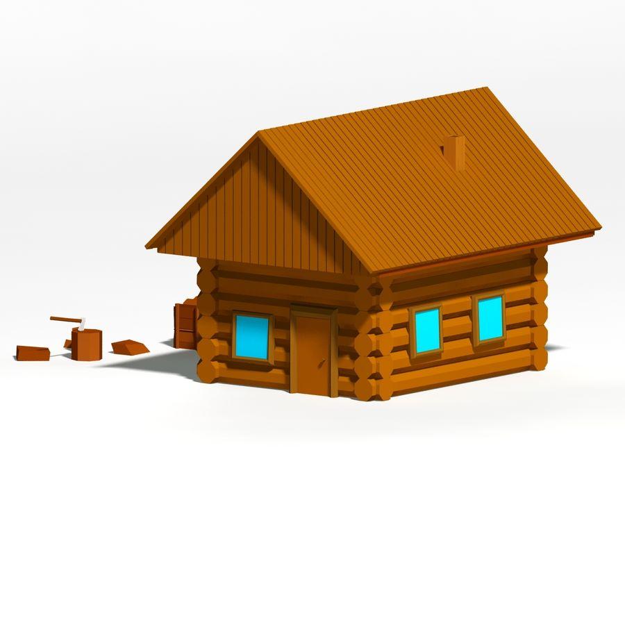 Chalet en bois poly faible dessin animé royalty-free 3d model - Preview no. 1
