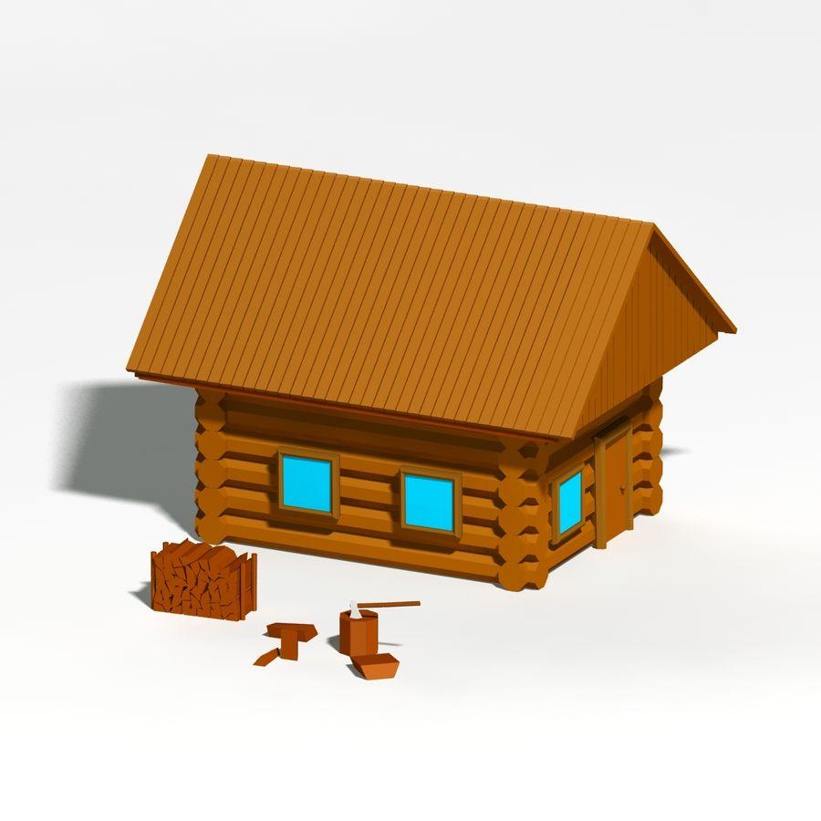 Chalet en bois poly faible dessin animé royalty-free 3d model - Preview no. 2