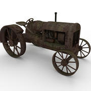 Rusty Tractor low poly 3d model