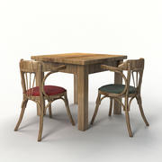 wood chair and table 3d model