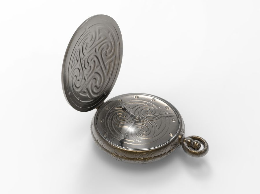 pocket watch royalty-free 3d model - Preview no. 1