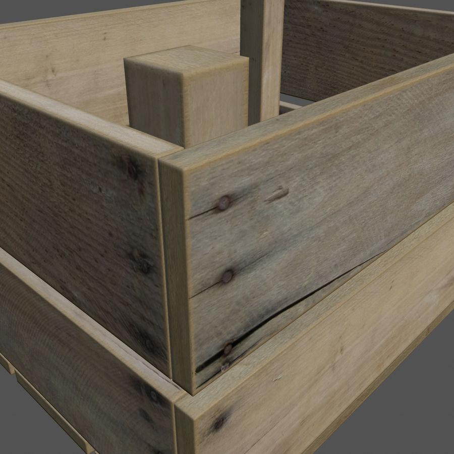 Obstkiste aus Holz royalty-free 3d model - Preview no. 3