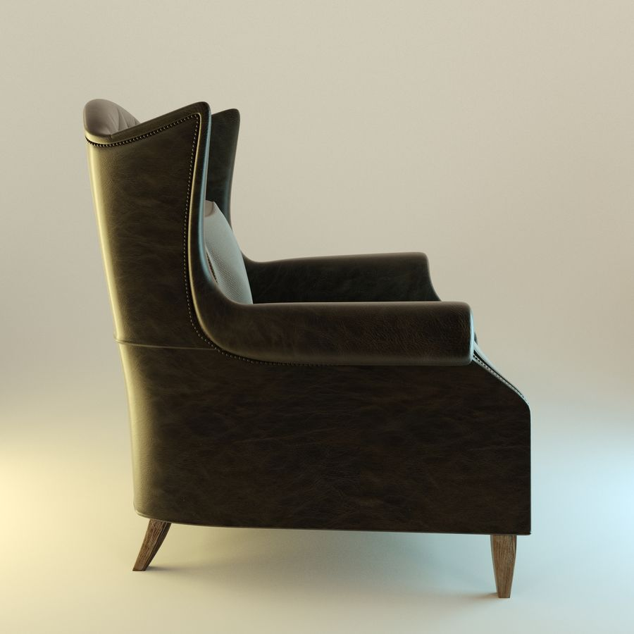 Black Leather armchair interior royalty-free 3d model - Preview no. 3
