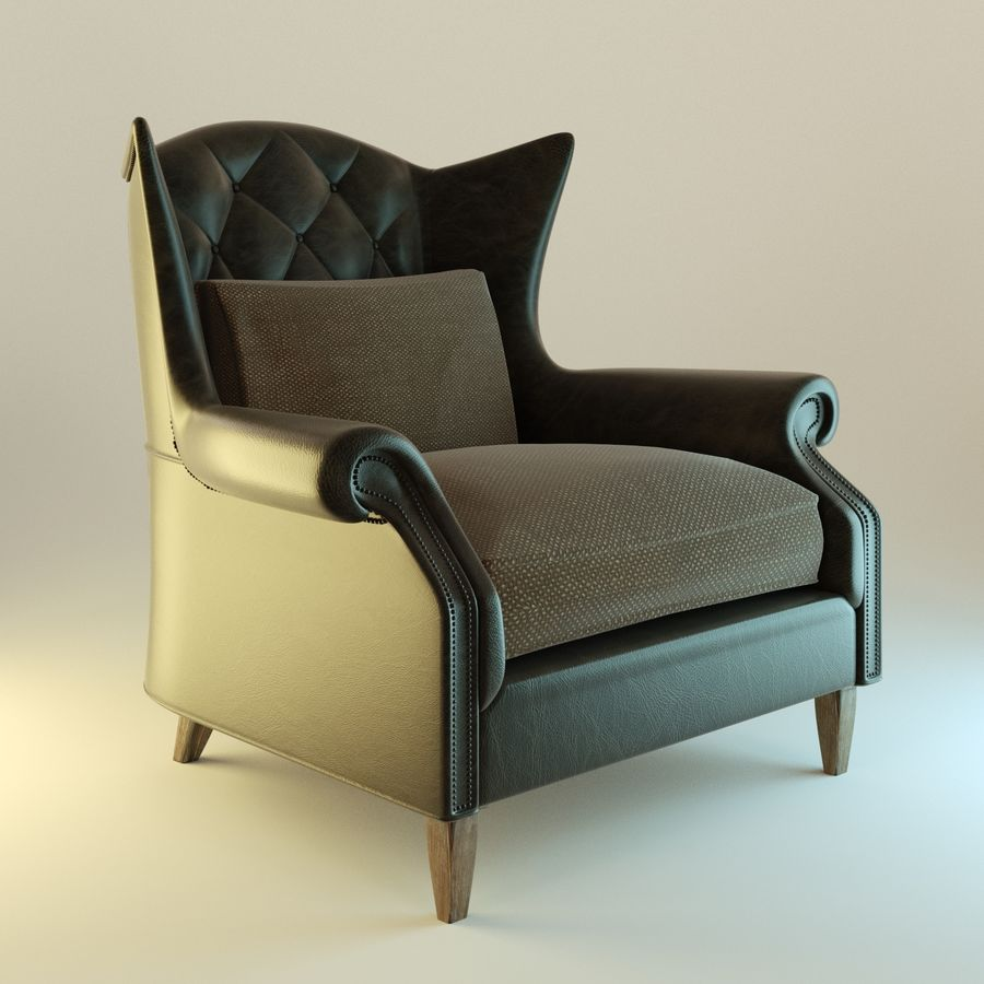 Black Leather armchair interior royalty-free 3d model - Preview no. 1