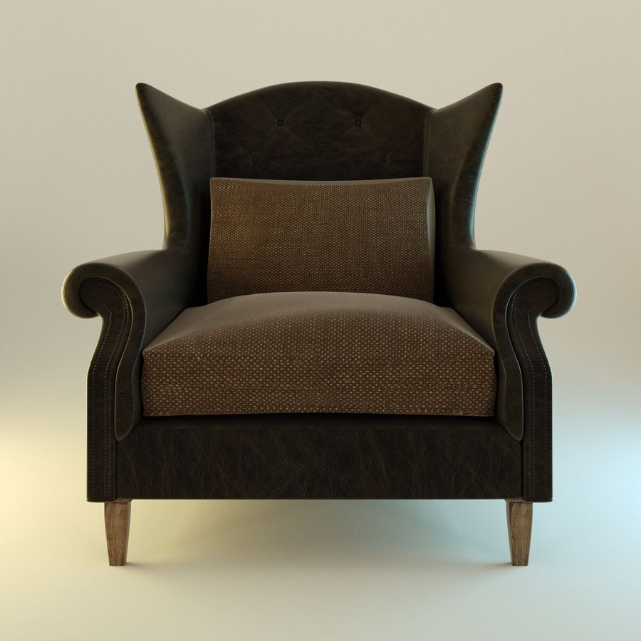 Black Leather armchair interior royalty-free 3d model - Preview no. 2