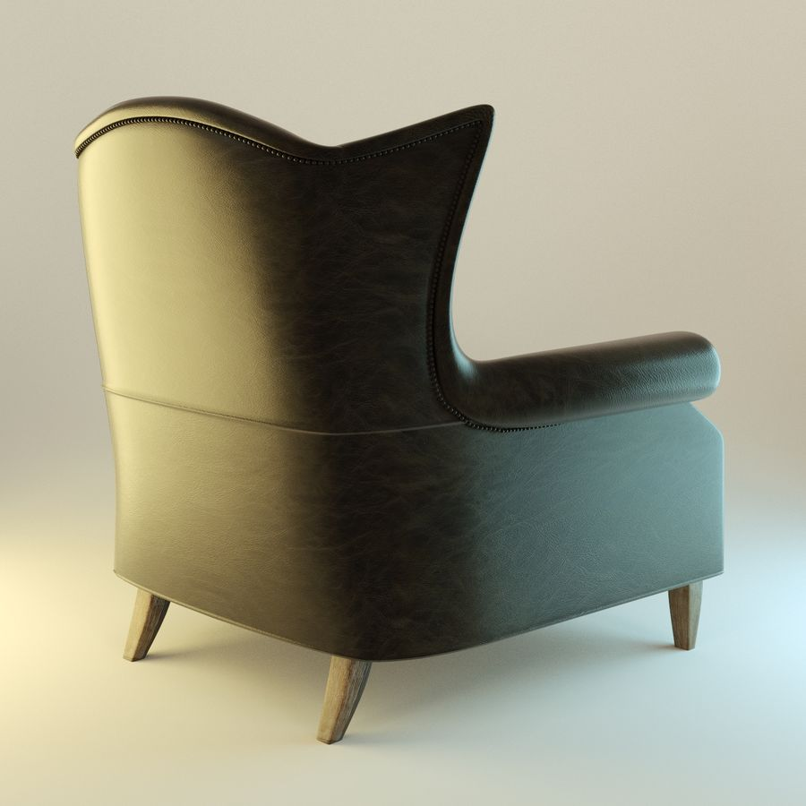Black Leather armchair interior royalty-free 3d model - Preview no. 4