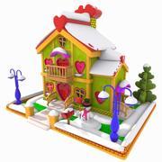 Casa do amor dos desenhos animados (inverno) 3d model