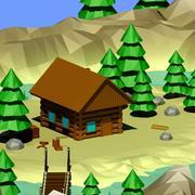 Cartoon low poly wilderness cabin 3d model