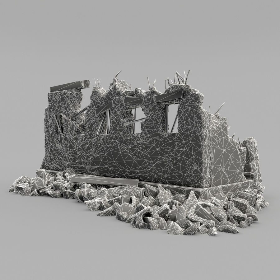 破坏建筑物 royalty-free 3d model - Preview no. 11