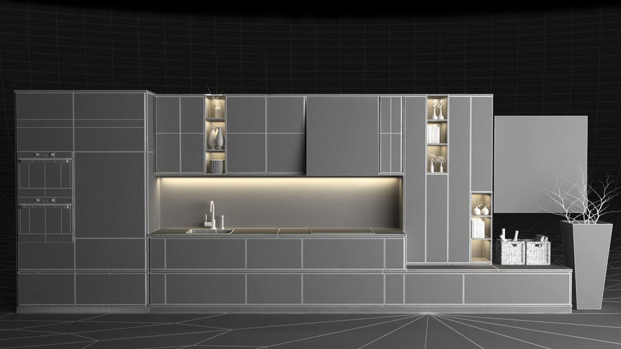keuken modern royalty-free 3d model - Preview no. 5