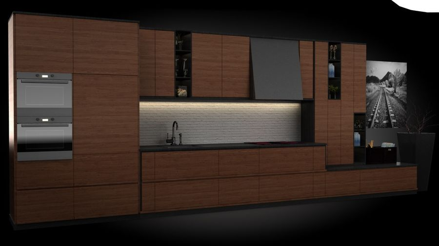 keuken modern royalty-free 3d model - Preview no. 1