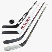 Bâtons de hockey et rondelles Bauer 3d model
