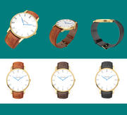 Golden wrist watch with leather strap 3d model