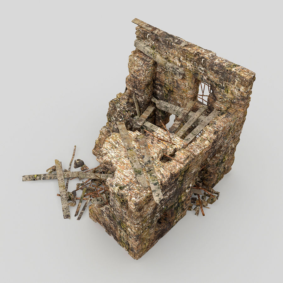 Edificio de ruinas royalty-free modelo 3d - Preview no. 6