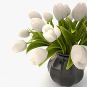tulips bouquet white 3d model