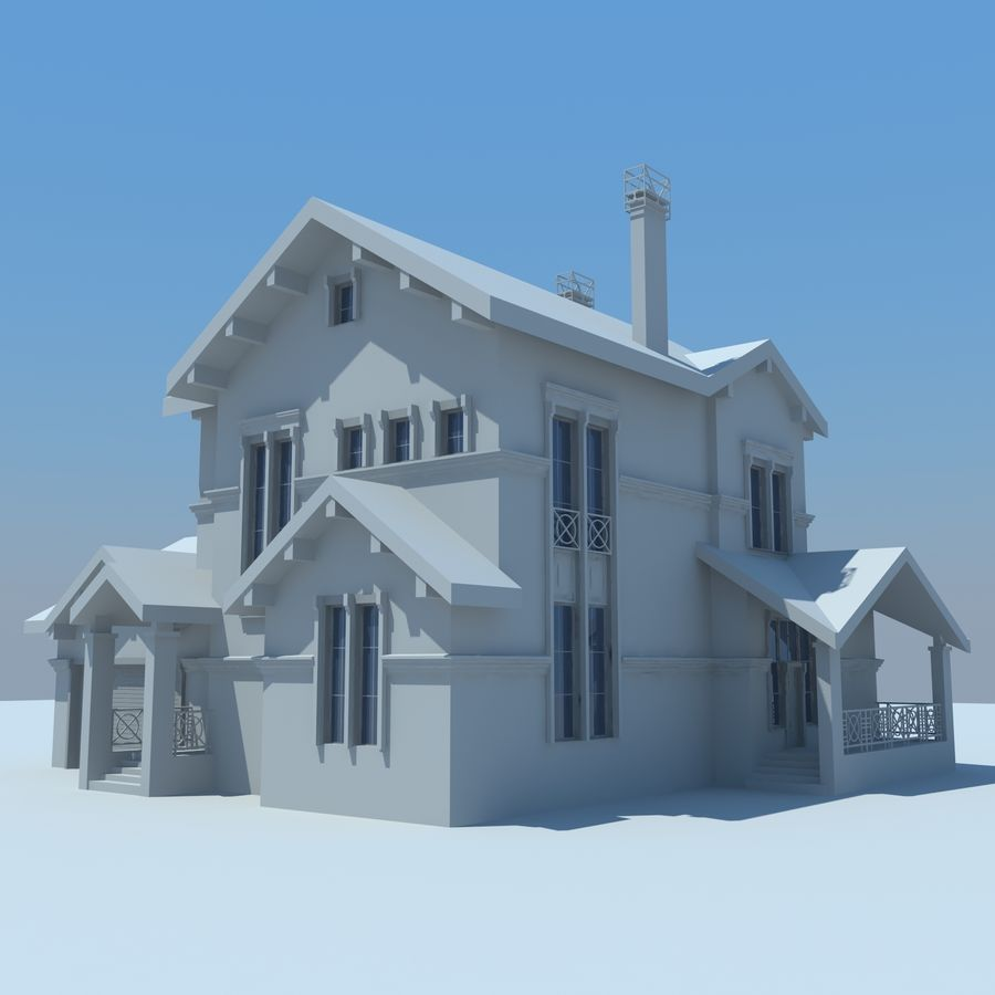 House cottage royalty-free 3d model - Preview no. 4