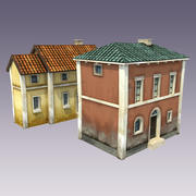 Deux maisons Cartoon low poly 3d model
