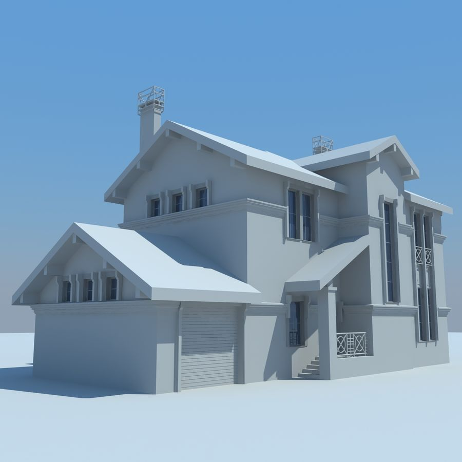 House cottage royalty-free 3d model - Preview no. 3
