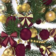 Weihnachtsbaumzweig mit Kugeln 3d model
