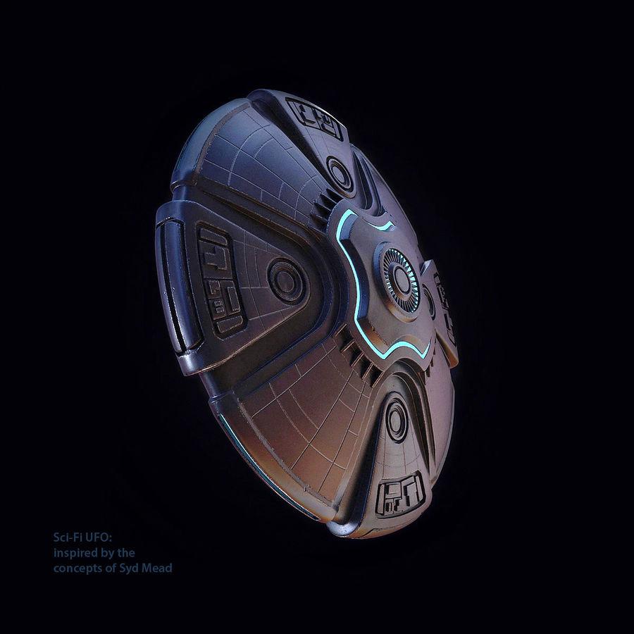 Bilim Kurgu UFO royalty-free 3d model - Preview no. 3