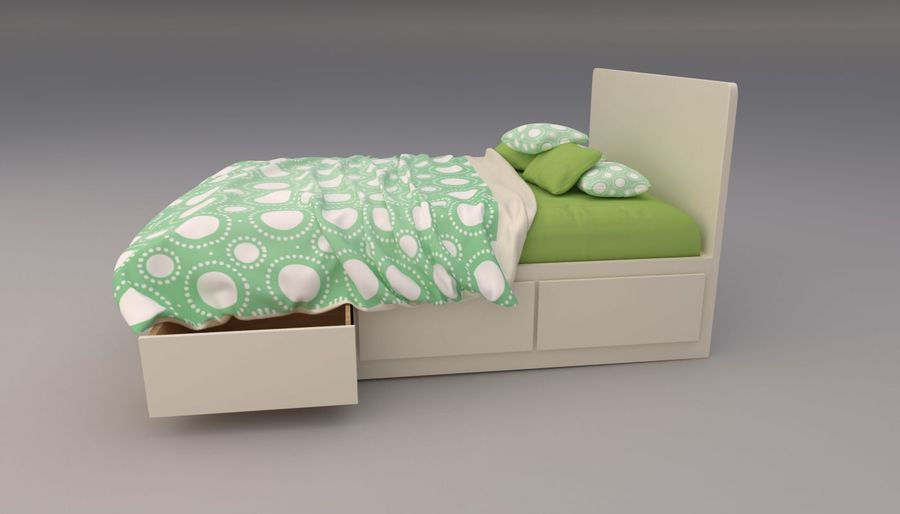 Platform Bed with Underbed Storage royalty-free 3d model - Preview no. 14