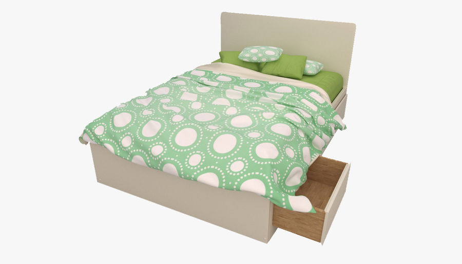 Platform Bed with Underbed Storage royalty-free 3d model - Preview no. 2