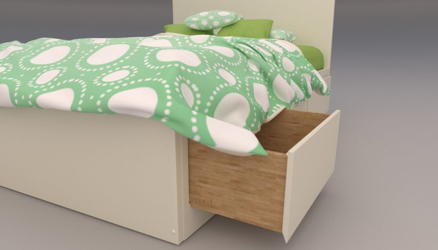Platform Bed with Underbed Storage royalty-free 3d model - Preview no. 8