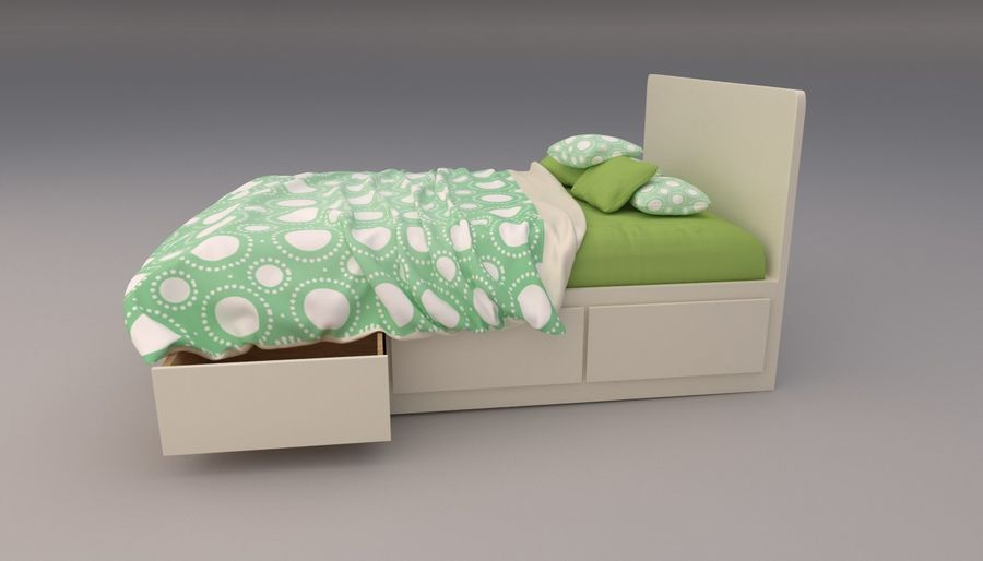 Platform Bed with Underbed Storage royalty-free 3d model - Preview no. 4