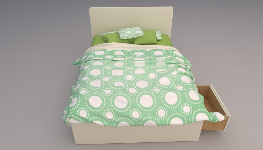 Platform Bed with Underbed Storage royalty-free 3d model - Preview no. 6