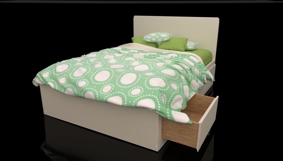 Platform Bed with Underbed Storage royalty-free 3d model - Preview no. 3