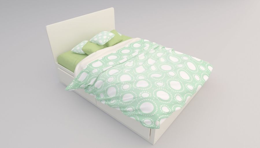 Platform Bed with Underbed Storage royalty-free 3d model - Preview no. 5